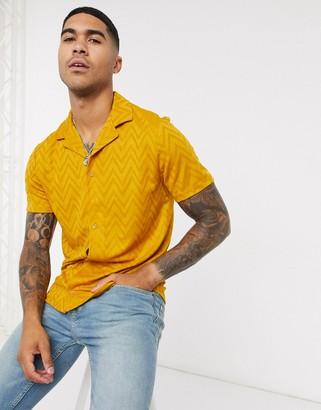 ASOS DESIGN jersey shirt in chevron fabric