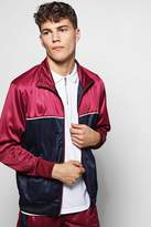 boohoo Poly Tricot Track Top With Colour Block burgundy