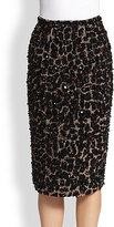 Burberry Prorsum Beaded Leopard-Patterned Stretch Wool Skirt