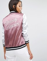 Missguided Slogan Satin Bomber Jacket