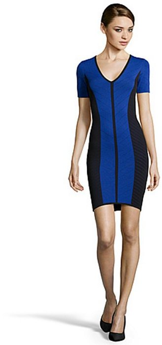 Torn By Ronny Kobo blue and black stretch pointelle knit 'Caterina' body con dress