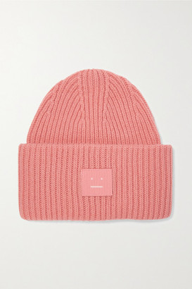 Acne Studios Pansy Appliqued Ribbed Wool Beanie - Pink
