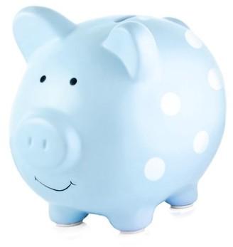 Pearhead Ceramic Piggy Bank, Blue Polka Dot