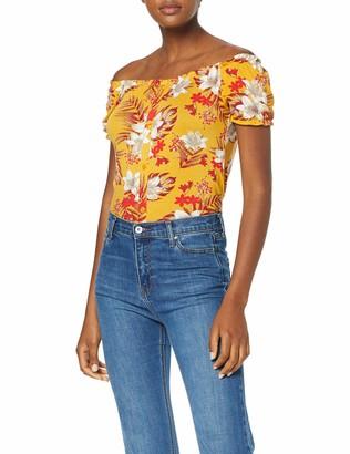 Dorothy Perkins Women's Button Through Milk Maid Ochre Tropical T-Shirt