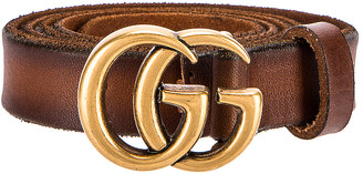 Gucci Leather Double G Buckle Belt in Cuoio | FWRD