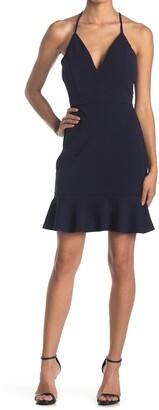 Love, Nickie Lew Illusion Back Deep V Flounce Dress