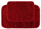 Garland Rug 2-Piece Traditional Nylon Washable Bathroom Rug Set, Chili Pepper Red