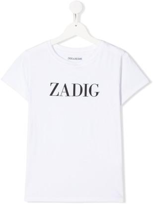 Zadig & Voltaire Kids logo print round neck T-shirt