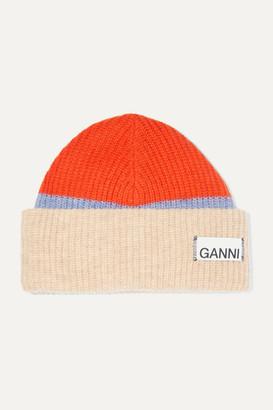 Ganni Ribbed Striped Wool-blend Beanie - Beige