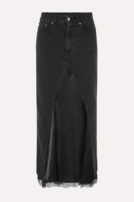 MM6 MAISON MARGIELA Layered Lace-trimmed Satin And Denim Midi Skirt - Black