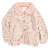 Pumpkin Patch Infant Girl's Knit Cardigan With Faux Shearling Collar