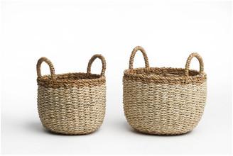 Fab Habitat Dakoro, Ivory Storage Basket Set With Handle