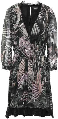 Just Cavalli Wrap-effect Lace-trimmed Printed Silk-chiffon Dress