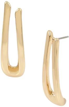 Robert Lee Morris Soho Grey Mood Goldtone Sculptural U-Drop Earrings