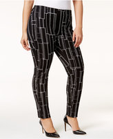 Alfani Plus Size Printed Pull-On Pants, Only at Macy's