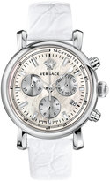 Versace 38mm Day Glam Chronograph Watch w/ Leather Strap, Silver/White