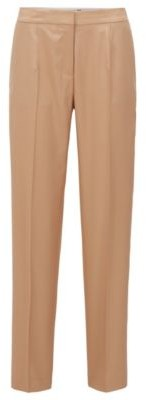 HUGO BOSS Tapered Fit Pants In Silk With High Waistband - Light Brown