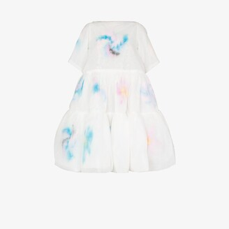 Susan Fang Tiered Feather Midi Dress