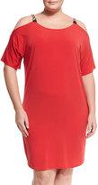 MICHAEL Michael Kors Short-Sleeve Cold-Shoulder Dress, True Red, Plus Size