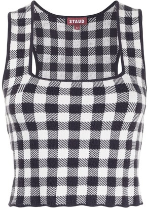 STAUD Gingham Knit Cropped Top