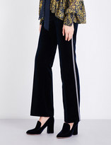 Mary Katrantzou Deosh flared high-rise velvet trousers
