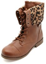 Charlotte Russe Cheetah-Lined Fold-Over Combat Boots