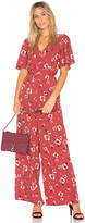Band of Gypsies Poppy Floral Jumpsuit in Red. - size L (also in M,S,XS)