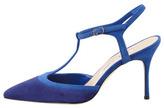 Manolo Blahnik Wotton Suede T-Strap Pump, Dark Blue
