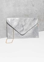 Missy Empire Jaci Silver Glitter Envelope Clutch Bag