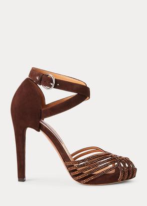 Ralph Lauren Velia Embellished Goat-Suede Sandal