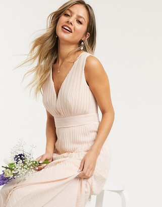 TFNC bridesmaid pleated sleeveless maxi dress in light blush