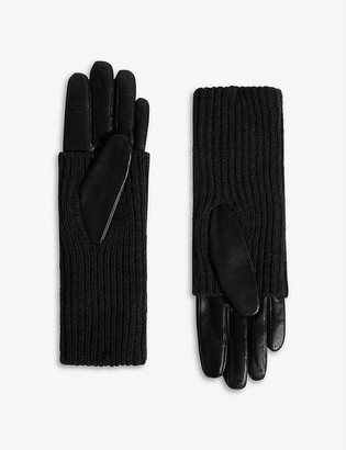 AllSaints Knitted-cuff leather gloves