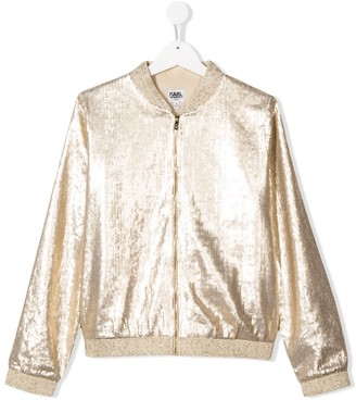 Karl Lagerfeld Paris TEEN sequin lame bomber jacket