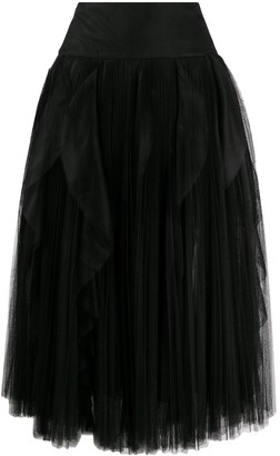 Ermanno Scervino Pleated Ruffle Tulle Midi Skirt