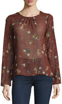 Willow & Clay Floral-Print Twisted-Back Top, Dark Red