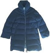 Moncler Navy Wool Padded Coat