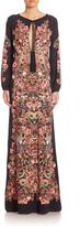 Roberto Cavalli Long-Sleeve Cady Printed Gown