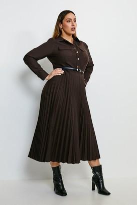 Karen Millen Curve Polished Stretch Wool Blend Shirt Dress