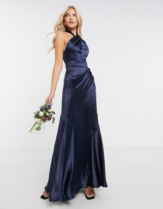 ASOS DESIGN Bridesmaid satin halter maxi dress with panelled skirt and keyhole detail