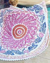 John Robshaw Round Cita Pink Beach Towel