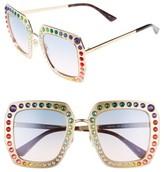 Gucci Women's 52Mm Square Sunglasses - Gold/ Blue