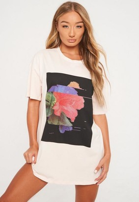 Missguided Petite Pink Floral Graphic Oversized T Shirt Dress