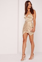 Missguided Nude Silky Asymmetric Ruched Romper