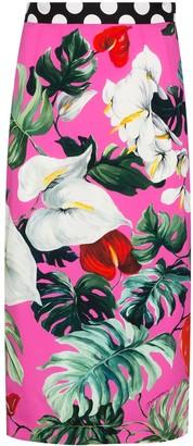 Dolce & Gabbana Leaf-Print Silk-Blend Pencil Skirt