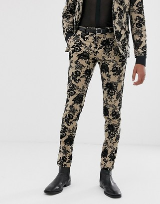 Twisted Tailor super skinny suit pant with floral flocking in tan