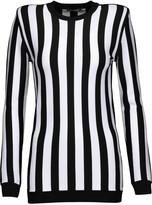 Balmain Striped stretch-satin top