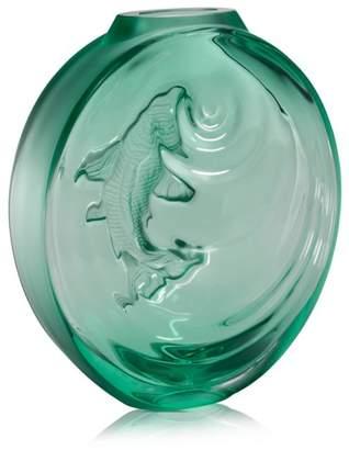 Lalique Carpe Koi Mint Green Bud Vase