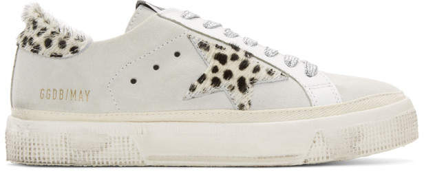 Golden Goose White Suede Leopard May Sneakers