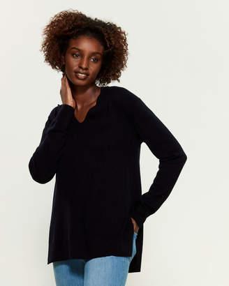 Vince Side Slit Long Sleeve Wool Tunic Sweater