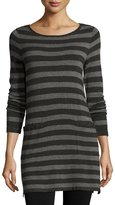 Eileen Fisher Long-Sleeve Striped Tunic W/ Pockets, Charcoal
